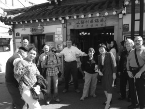 Academy members and guests visit a local restaurant during the IEOP Tour of Korea.