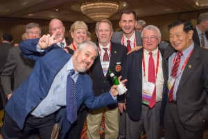 Dan Martell photo bombs fellow Academy members (l to r): Victor Weedn, Robert Dorion, Kathy Reichs, Bob Barsley, Dragan Primorac, Haskell Pitluck, and Henry Lee.
