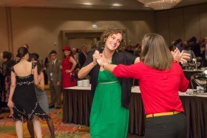 Attendees enjoy the moment with a dance.