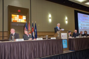 2015 Annual Business Meeting Head Table (l to r): Robert Dorion, Victor Weedn, Daniel Martell, Helen McFadden, Barry Logan, John Gerns, and Susan Ballou. Not Pictured: Betty Layne DesPortes.