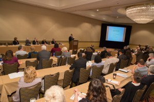 Attendees listen to AAFS Past President Douglas Ubelaker during the Interdisciplinary Symposium.