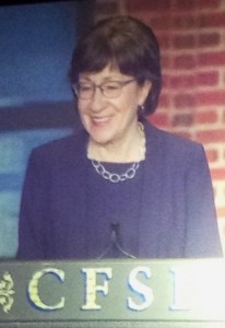 Senator Susan Collins speaking during the symposium dinner.